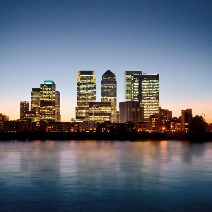 photo of Canary Wharf at sunset
