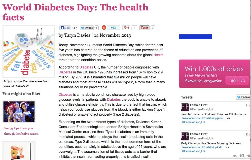 screenshot of Female First article 'World Diabetes Day: The health facts'