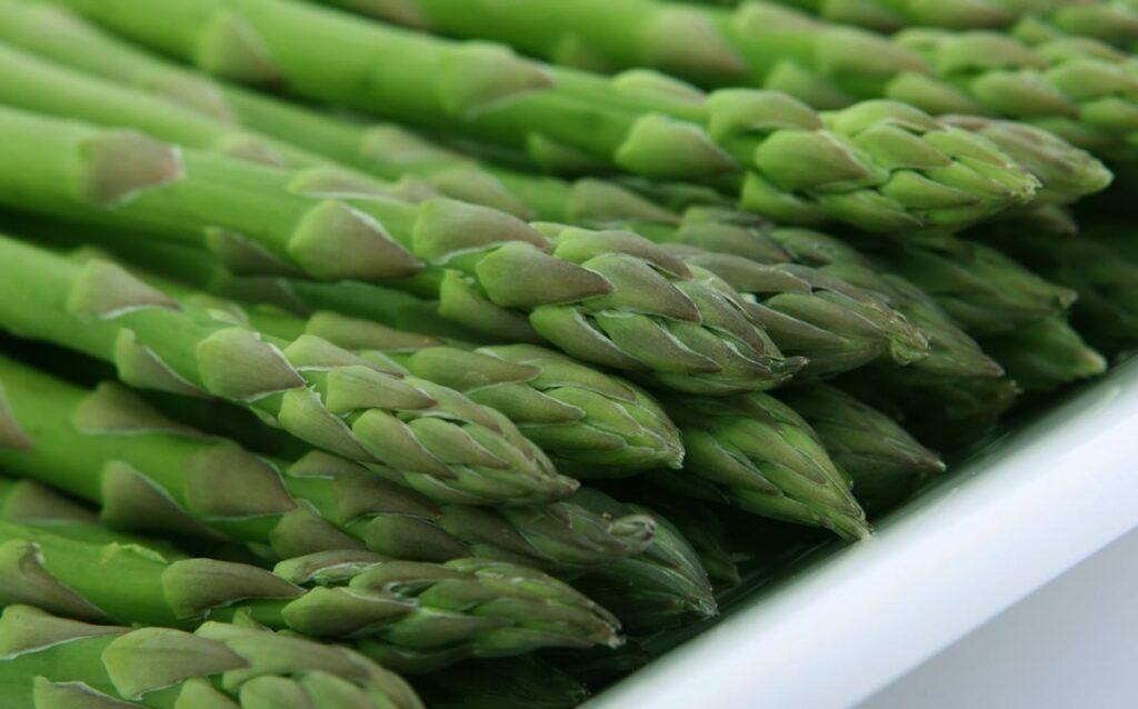 A neat pile of asparagus