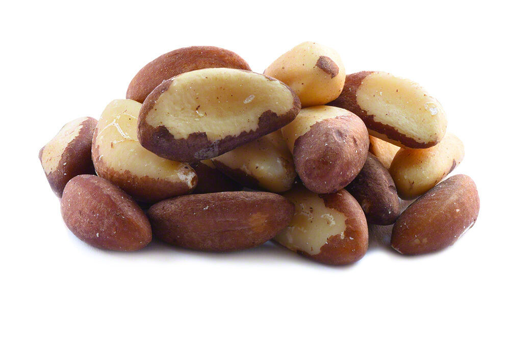 A pile of brazil nuts